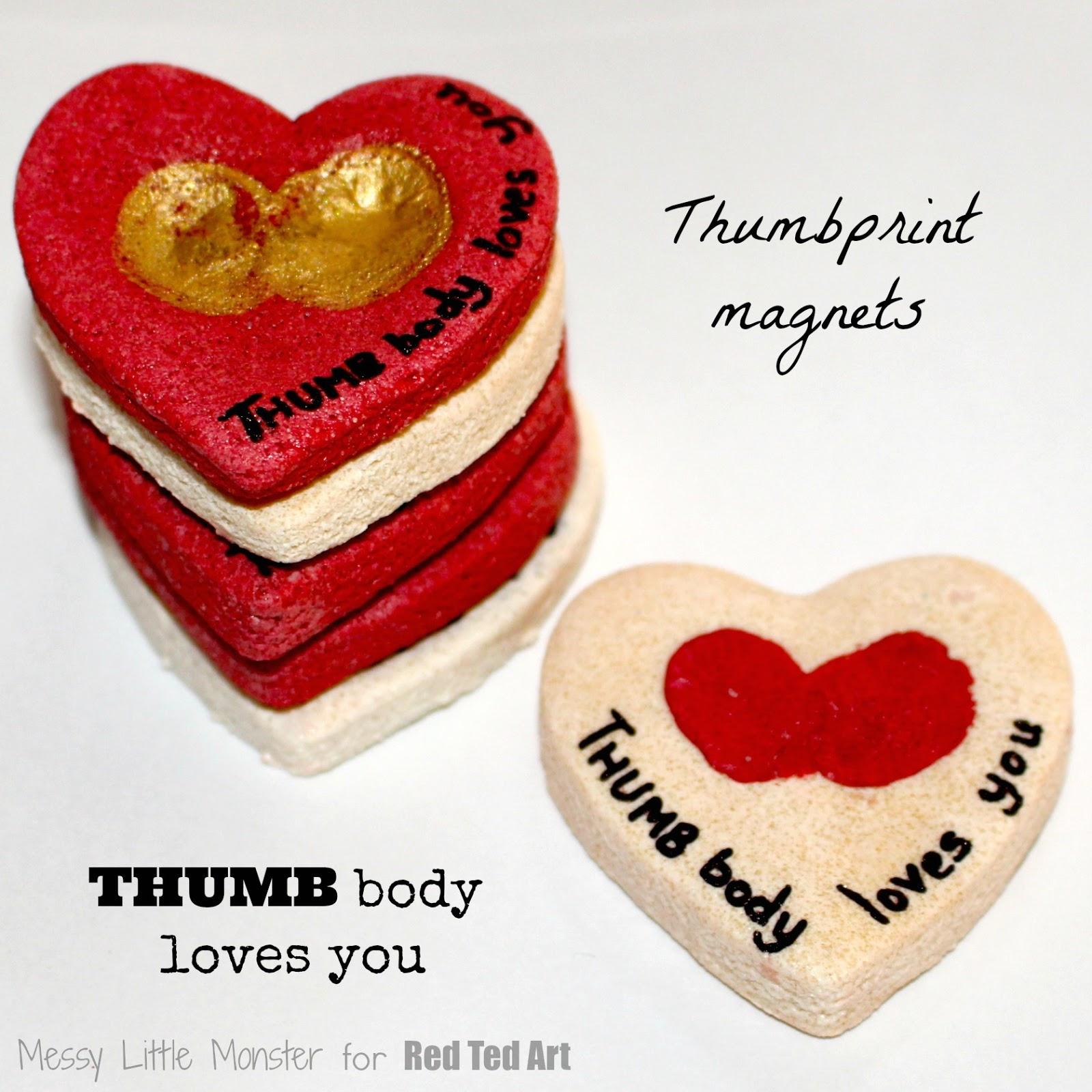 Thumbbody loves you thumbprint magnet messy little monster for Salt dough crafts figures