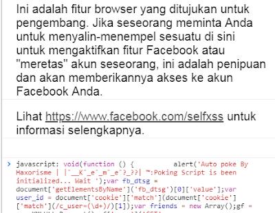 Memasang Kode Auto Colek di Console Facebook