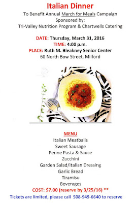 Italian dinner - Thursday, March 31