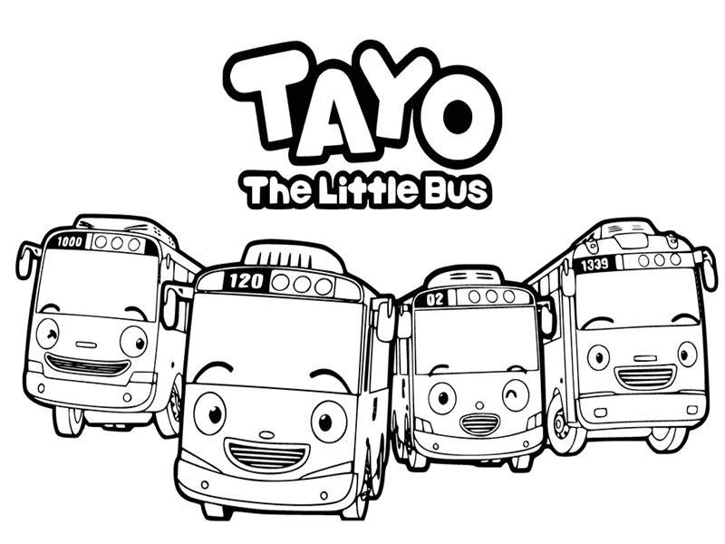 Gambar Kartun Tayo Untuk Mewarnai