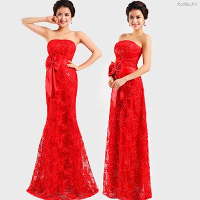Vestidos de encaje largo rojos