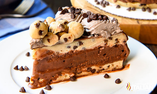 No-Bake Cookie Dough Ice Cream Cake slice