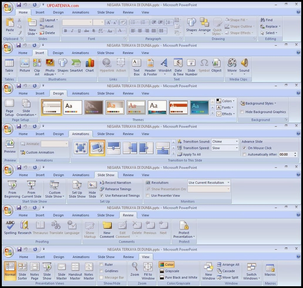 Fungsi Menu Pada Tabs Microsoft Powerpoint