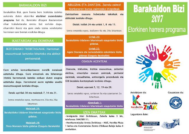 Folleto en euskera del programa Barakaldon Bizi