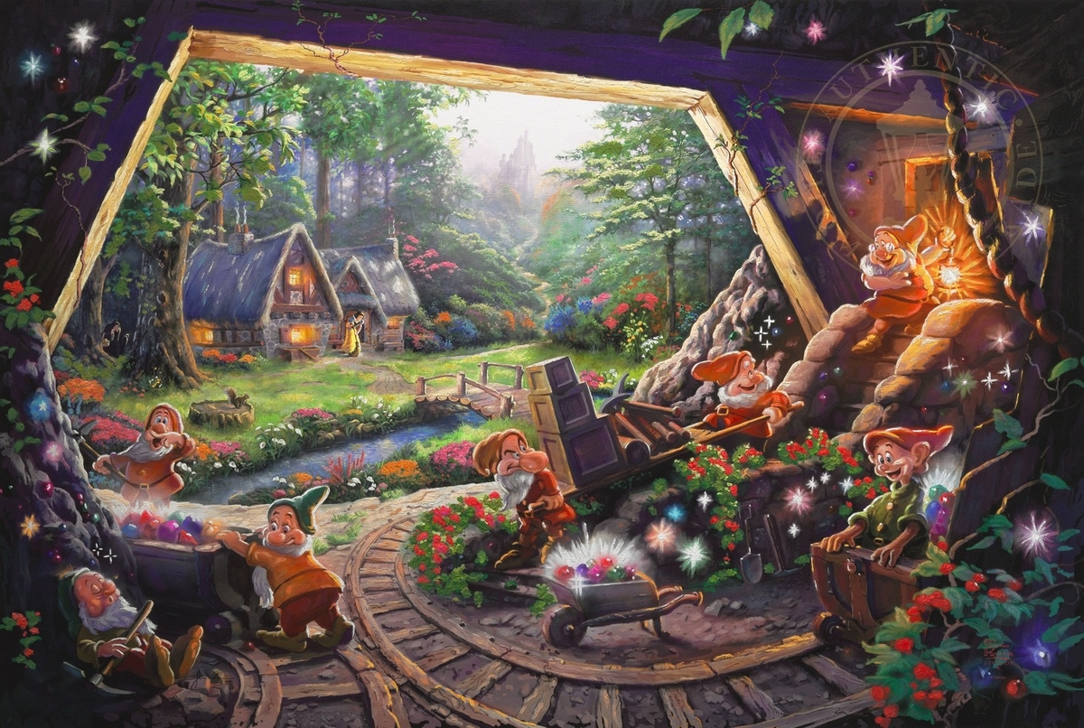 12-Snow White and the Seven Dwarfs-Thomas-Kinkade-Walt-Disney-Stories-Seen-Through-Paintings-www-designstack-co