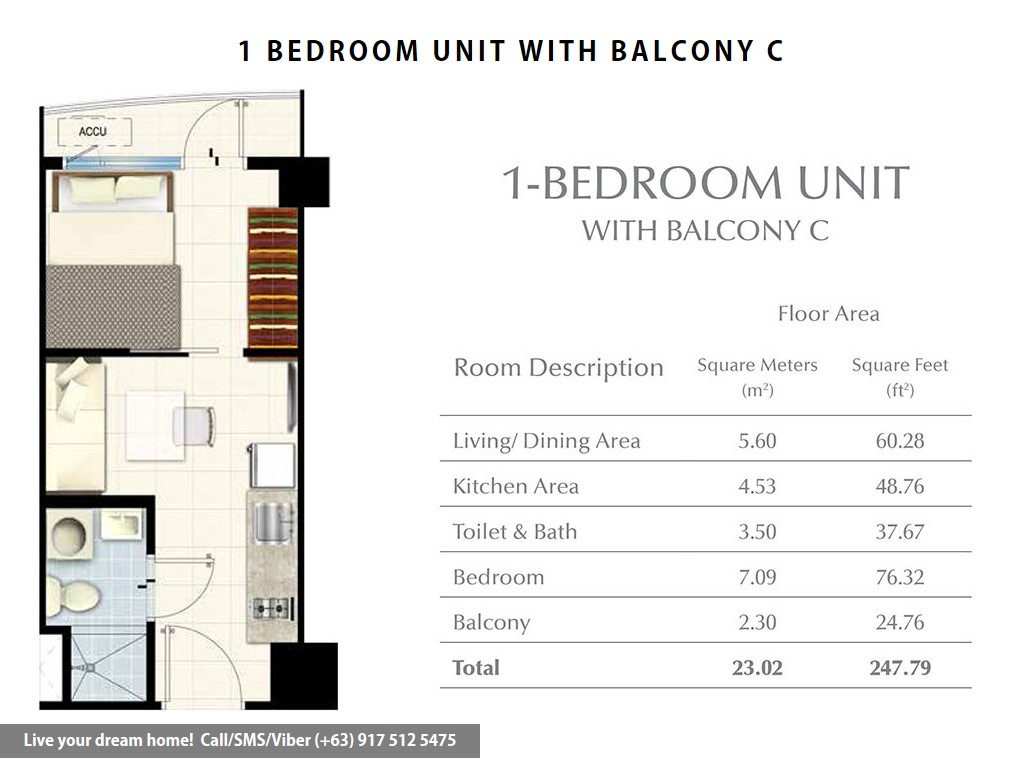 Floor Plan of SMDC South Residences - 1 Bedroom With Balcony | Condominium for Sale SM Southmall Las Pinas