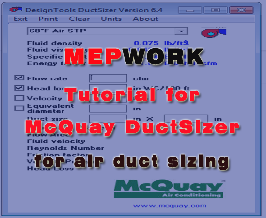 Duct Design, DuctSizer, HVAC, McQuay, Tutorials,
