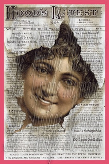 vintage newspaper lady fabric