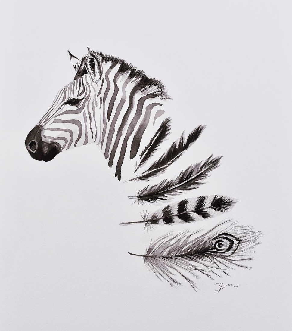 12-Zebra-and-Feathers-Yaseen-Eclectic-Art-from-3D-to-Milk-Portraits-www-designstack-co
