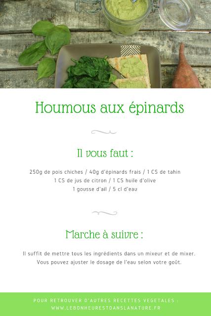 houmous épinards recette végétale vegan
