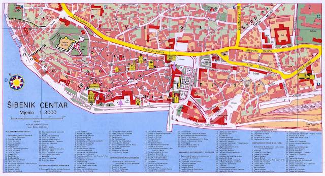 Mapa de Sibenik, Croacia
