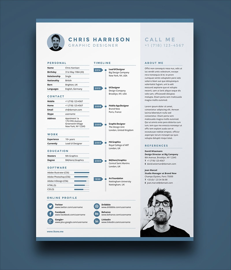 Template Resume CV 2018 - Free Resume Template in Ai, INDD & PSD