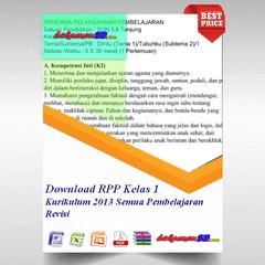Download RPP Kelas 1 Kurikulum 2013 Semua Pembelajaran Revisi