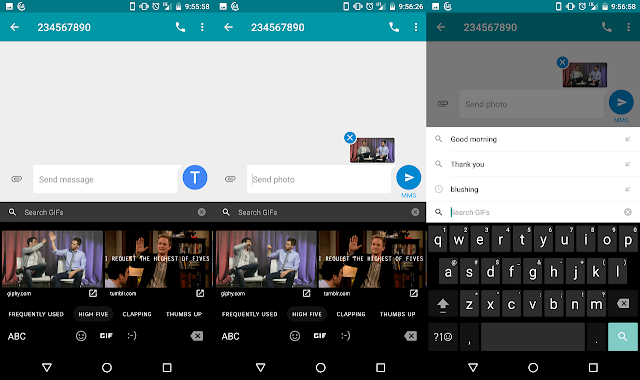 Google Keyboard on Android 7.1 now Support GIFs in Google's Messenger App