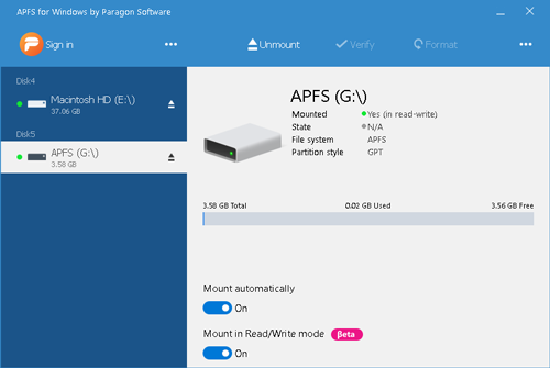 Paragon APFS for Windows Full