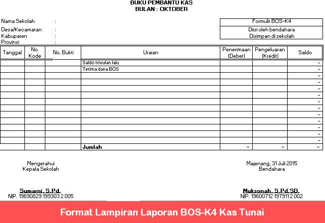 Format Lampiran Laporan BOS-K4 Kas Tunai