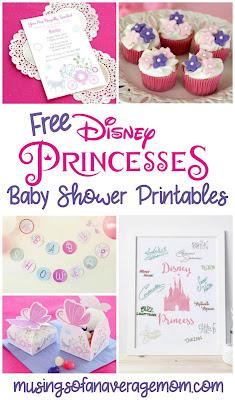 Free disney princess baby shower printables