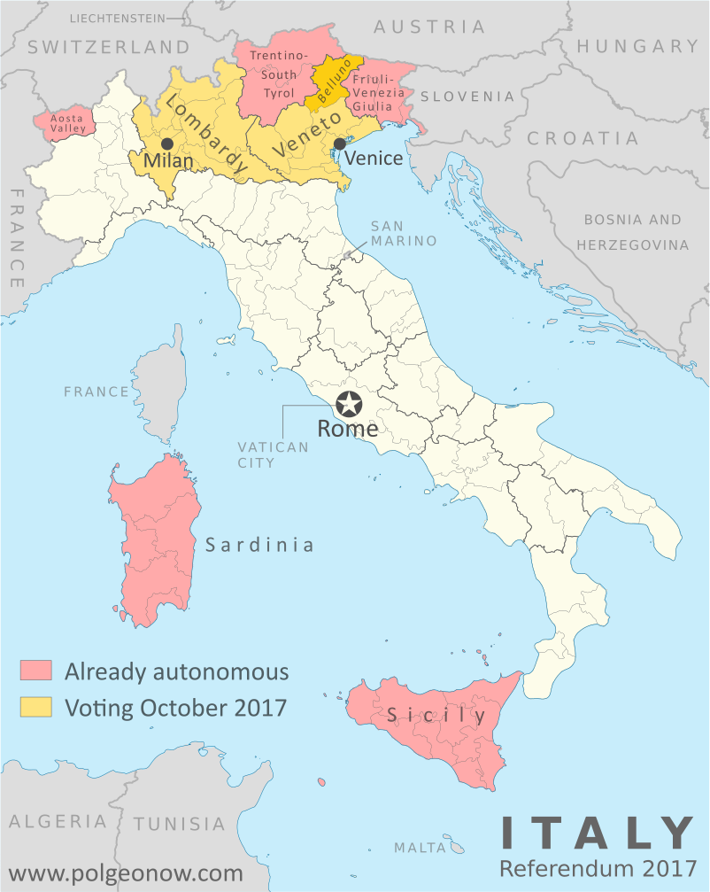 Veneto and Lombardy referendum: Map of Italy showing which regions already have special forms of autonomy, and which regions are voting on whether to request more autonomy in October 2017, which include the cities of Venice and Milan. Also marks Belluno province, which is holding its own referendum on more autonomy from the Veneto region. Colorblind accessible.
