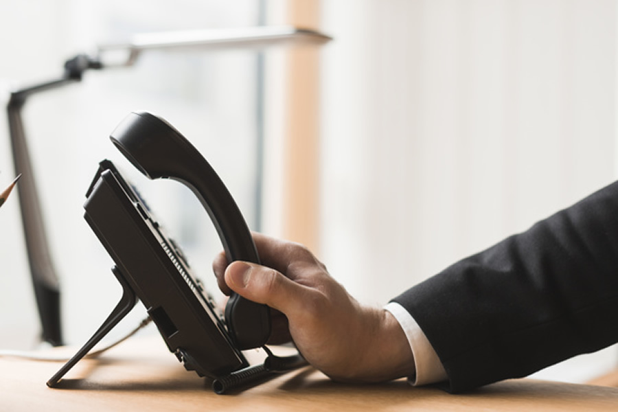 businessman and office telephone
