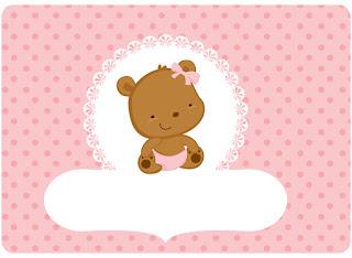 Para hacer Invitaciones, Marcos, Etiquetas o Tarjetas para Imprimir Gratis de Osita Bebé en Rosa con Lunares.