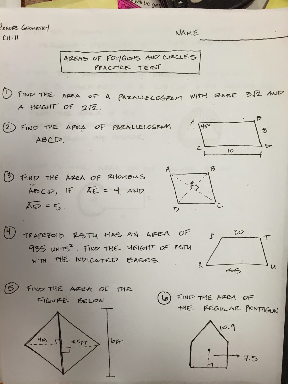 Honors Geometry - Vintage High School: Chapter 11 Practice Test