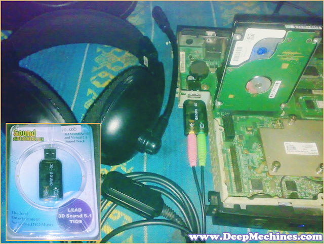 Gambar Sound Card USB pada PC Desktop Komputer