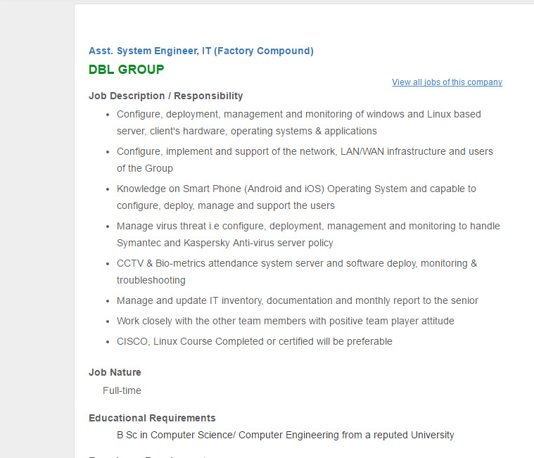 Dbl Group  Position Asst System Engineer It Factory Compound