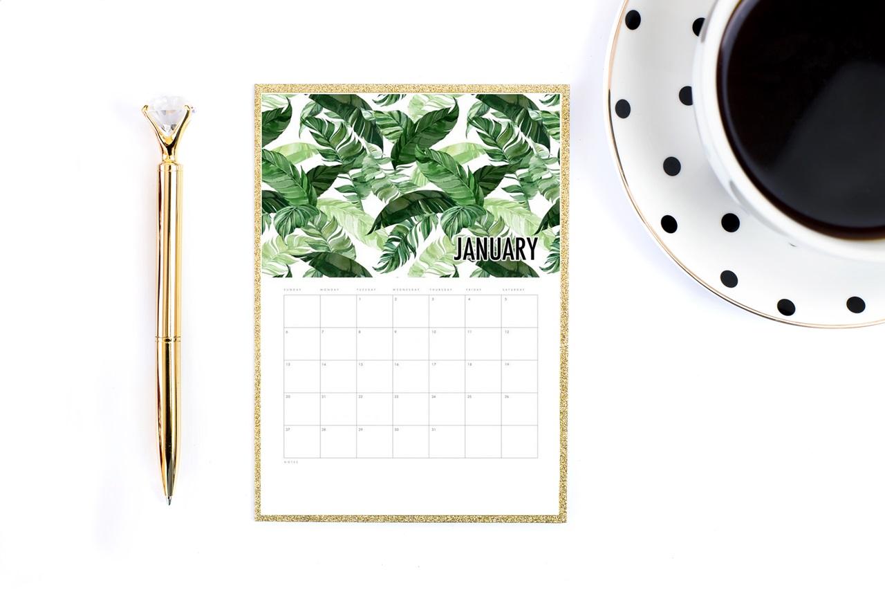 kalendarz / planer 2019 do druku do pobrania za darmo utrzymany w tropikalnej stylistyce