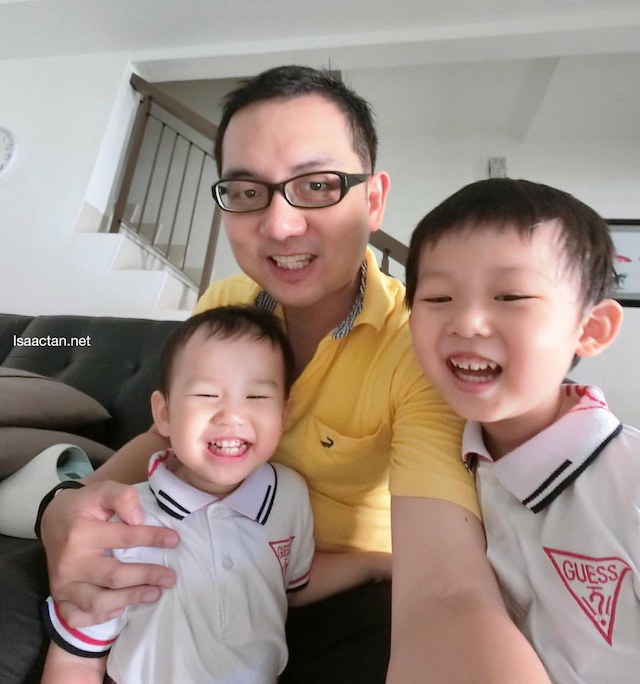 Wefie made easy, taken with my two kids, Karlson and Martin