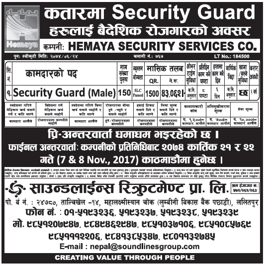 Jobs in Qatar for Nepali, Salary Rs 43,062