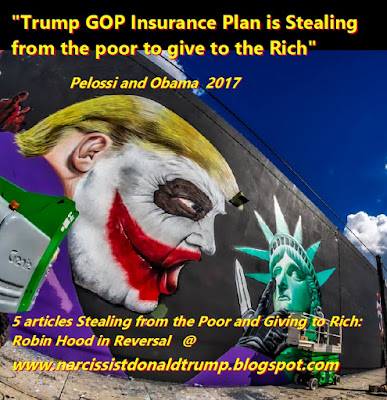funny trump gop meme: insurance plan is stealing from rich giving to poor taxing poor, pelossi obama quotes