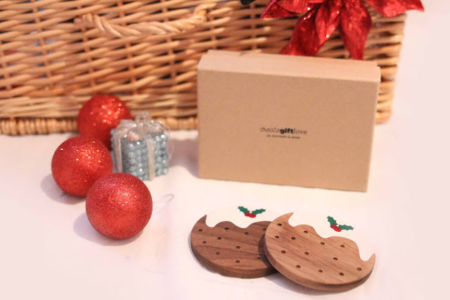 wooden christmas pudding coaster set from create gift love