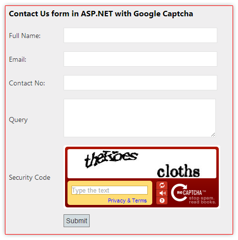 How to implement Google reCaptcha in asp net MVC application