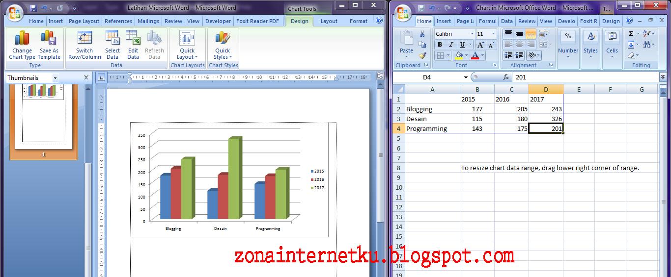 Cara Mudah Membuat Dan Mengedit Data Diagram Grafik Di Microsoft Word 2007 Zona Internetku