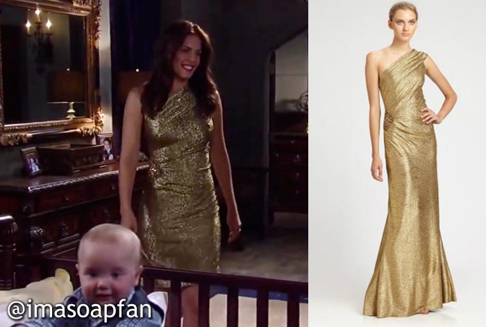 Britt Westbourne\'s Gold One-Shoulder Dress - General Hospital ...