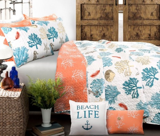 Coral Reef Print Bedding Ideas | Shop the Look - Coastal ...
