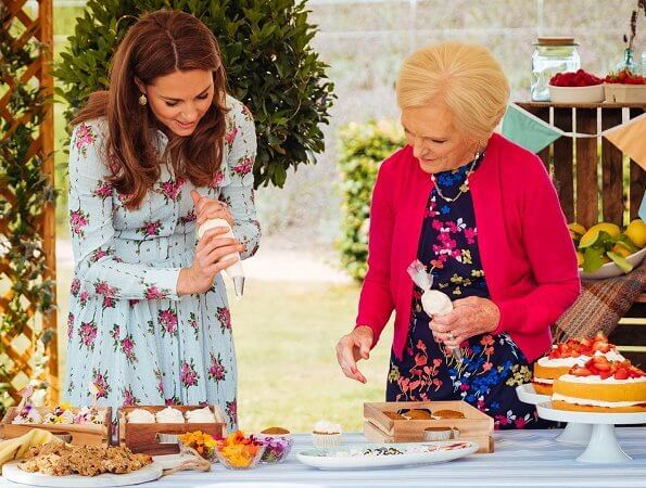 Kate Middleton wore Alessandra Rich silk jacquard midi dress, and Emilia Wickstead Aurora floral-print dress. food writer Mary Berry