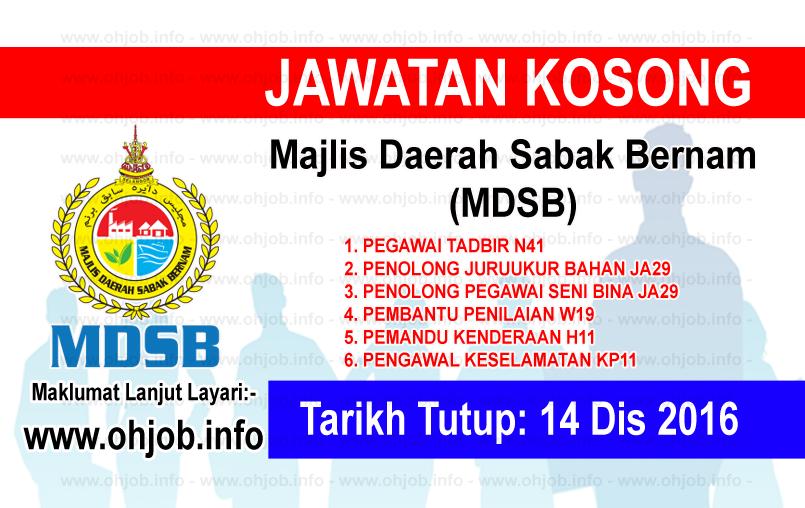 Jawatan Kerja Kosong Majlis Daerah Sabak Bernam (MDSB) logo www.ohjob.info disember 2016