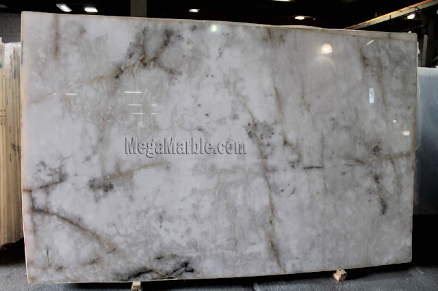 Crystal Quartzite White Slabs For Kitchen Countertops