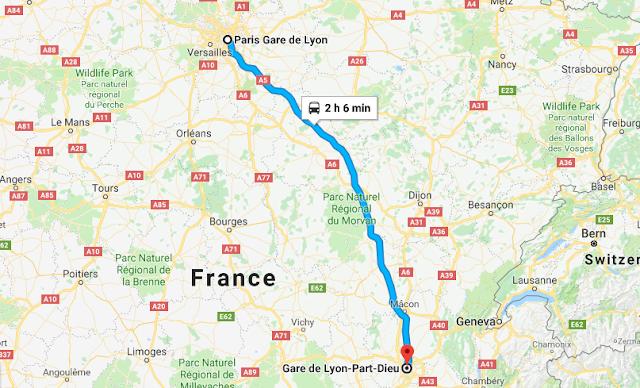 Mapa viagem de trem de Paris a Lyon