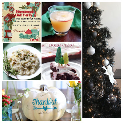 Homemade Holiday features: apple cider punch, rustic mashed potatoes, cherry coke poke cake, black Christmas tree and Thanksgiving fun.