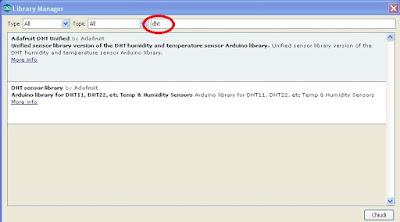 Ricerca libreria DHTper IDE Arduino Versione 1.6.5 - Fonte Arduino IDE