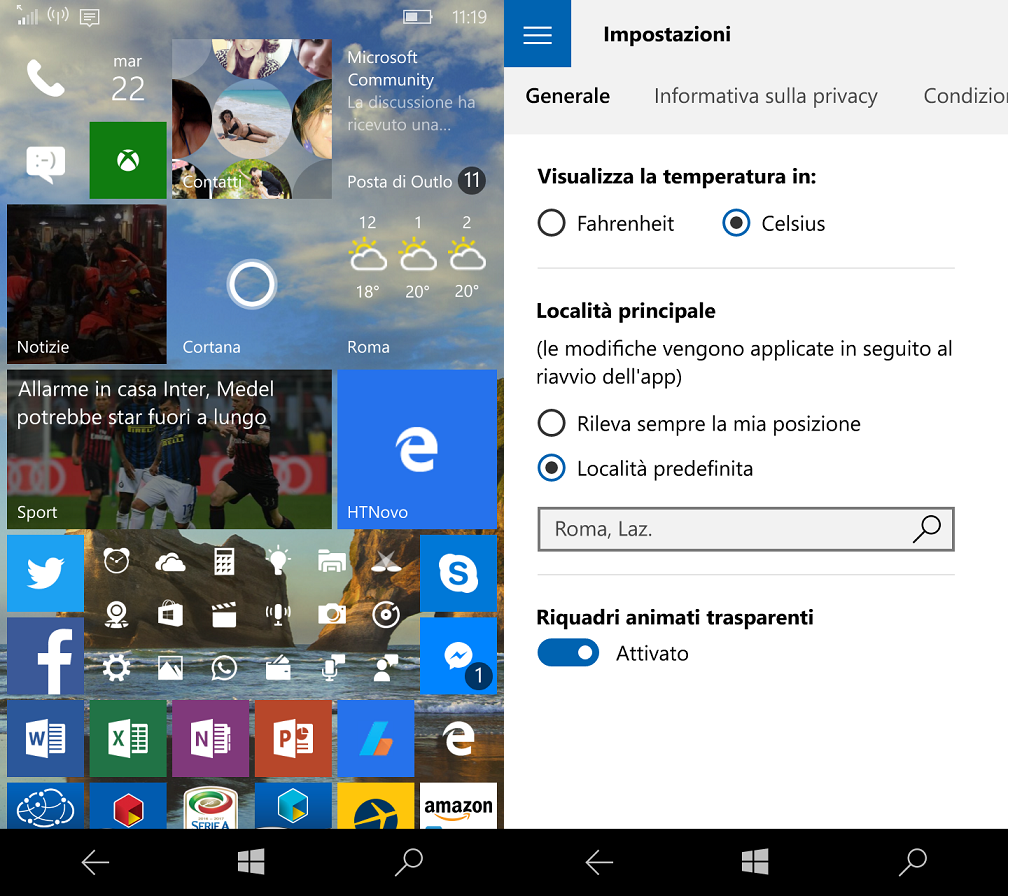 Chaseable Live Tile e trasparenze disponibili per tutti i Windows 10 HTNovo