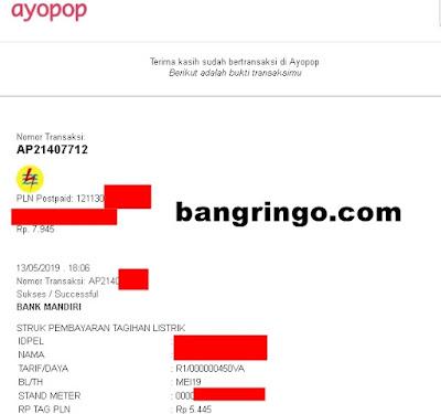 Membayar Tagihan Listrik PLN dari Ayopop