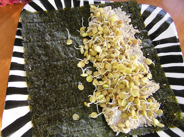 nori roll with raw sprouted sunflower seed dip