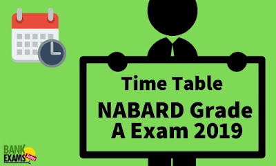 Time Table for NABARD Grade A Exam 2019