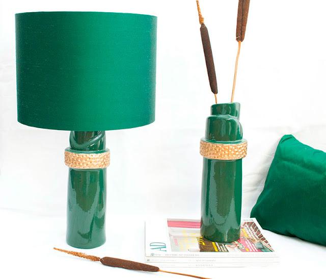 Gruen Lampe mit Goldblatt