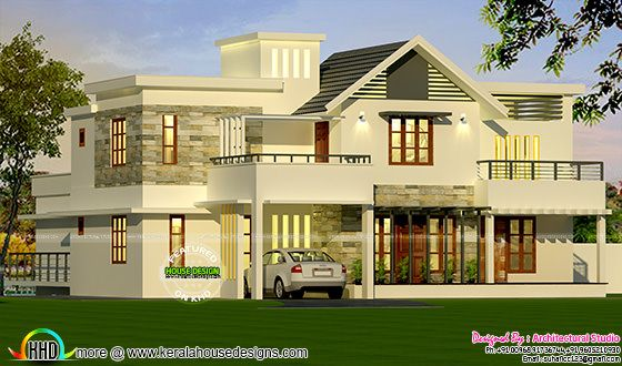 4 bedroom modern style sloping roof mix home