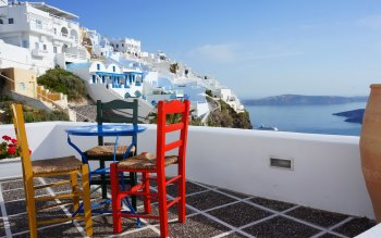 Wallpaper: Travel. Santorini. Resort. Mediterranean Sea