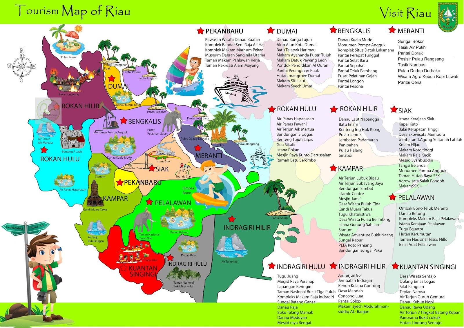 Peta Wisata Riau - Riau Tourism Map - Indonesia - RiauMagz